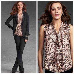 CAbi Just So Blouse in Pink Silk Animal Print M